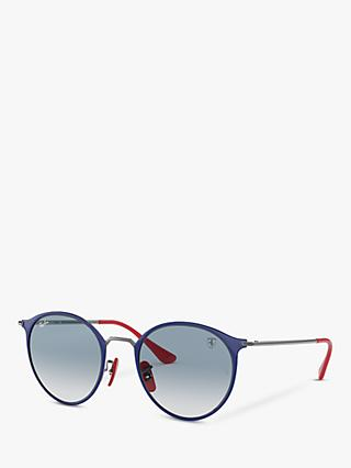 Ray-Ban Scuderia Ferrari Collection RB3574N Unisex Round Sunglasses, Gunmetal Blue/Light Blue Gradient