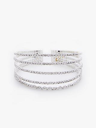 John Lewis & Partners Sparkle Crystal Open End Cuff, Silver