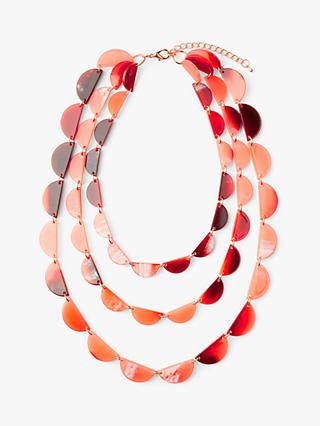 John Lewis & Partners Resin Layered Necklace, Living Coral