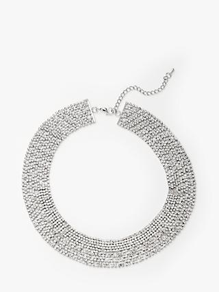 John Lewis & Partners Flat Sparkle Crystal Collar Necklace, Silver