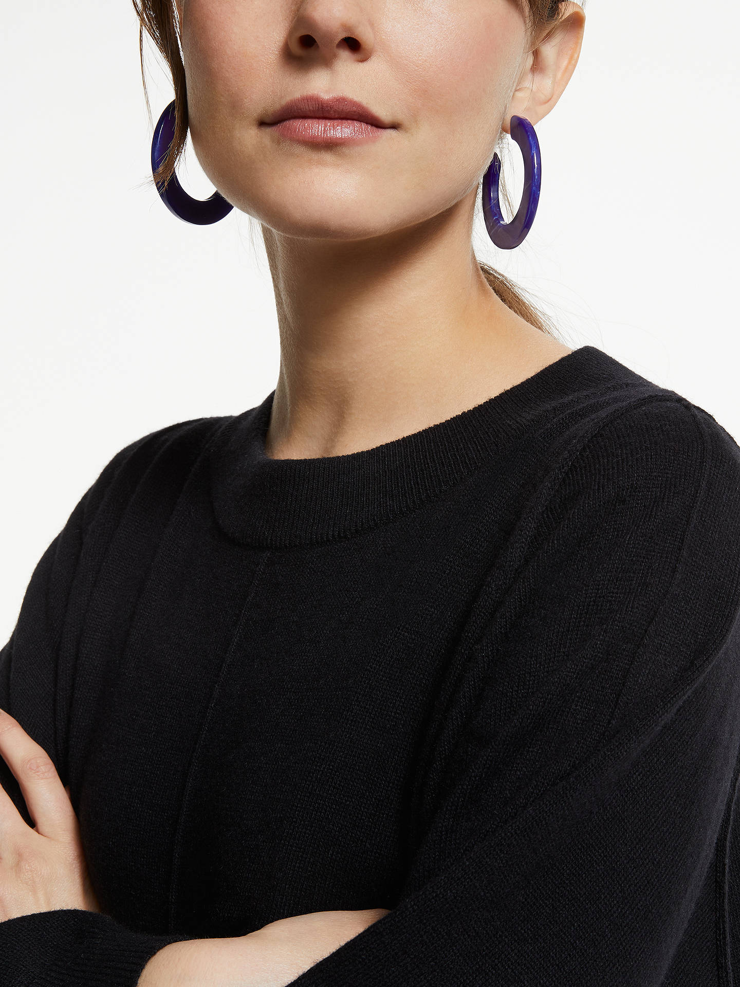 Buy John Lewis & Partners Resin Hoop Earrings, Blue Marble Online at johnlewis.com