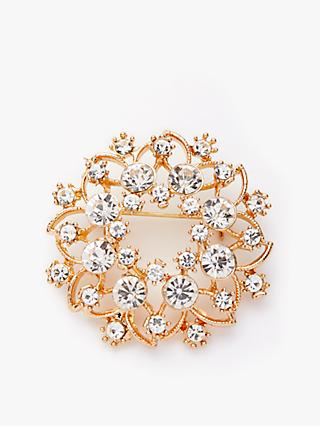 John Lewis & Partners Vintage Crystal Flower Brooch, Gold