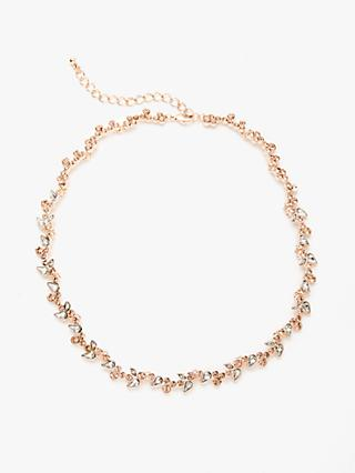 John Lewis & Partners Delicate Crystal Collar Necklace, Rose Gold