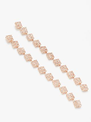 John Lewis & Partners Delicate Crystal Long Drop Earrings, Rose Gold