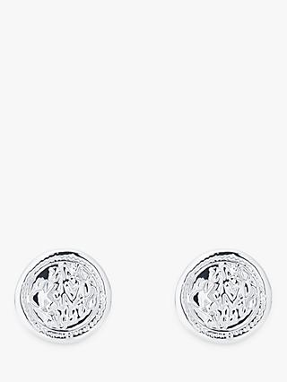 Karen Millen Vintage Coin Stud Earrings, Silver