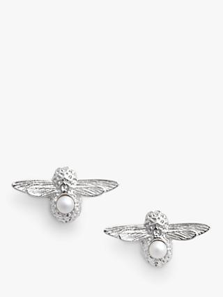 Olivia Burton Pearl Bee Stud Earrings, Silver OBJAME115