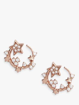 Olivia Burton Cubic Zirconia Star Hoop Earrings, Rose Gold OBJ16CLE09