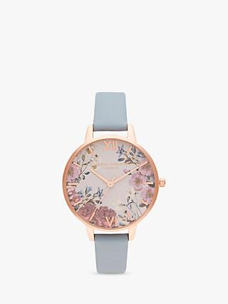 Olivia Burton OB16EG132 Women's British Blooms Leather Strap Watch, Soft Blue/Pink