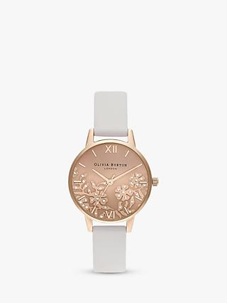 2b5f57af2689 Olivia Burton OB16MV102 Women's Bejewelled Lace Swarovski Crystal Leather  Strap Watch, Blush/Rose Gold