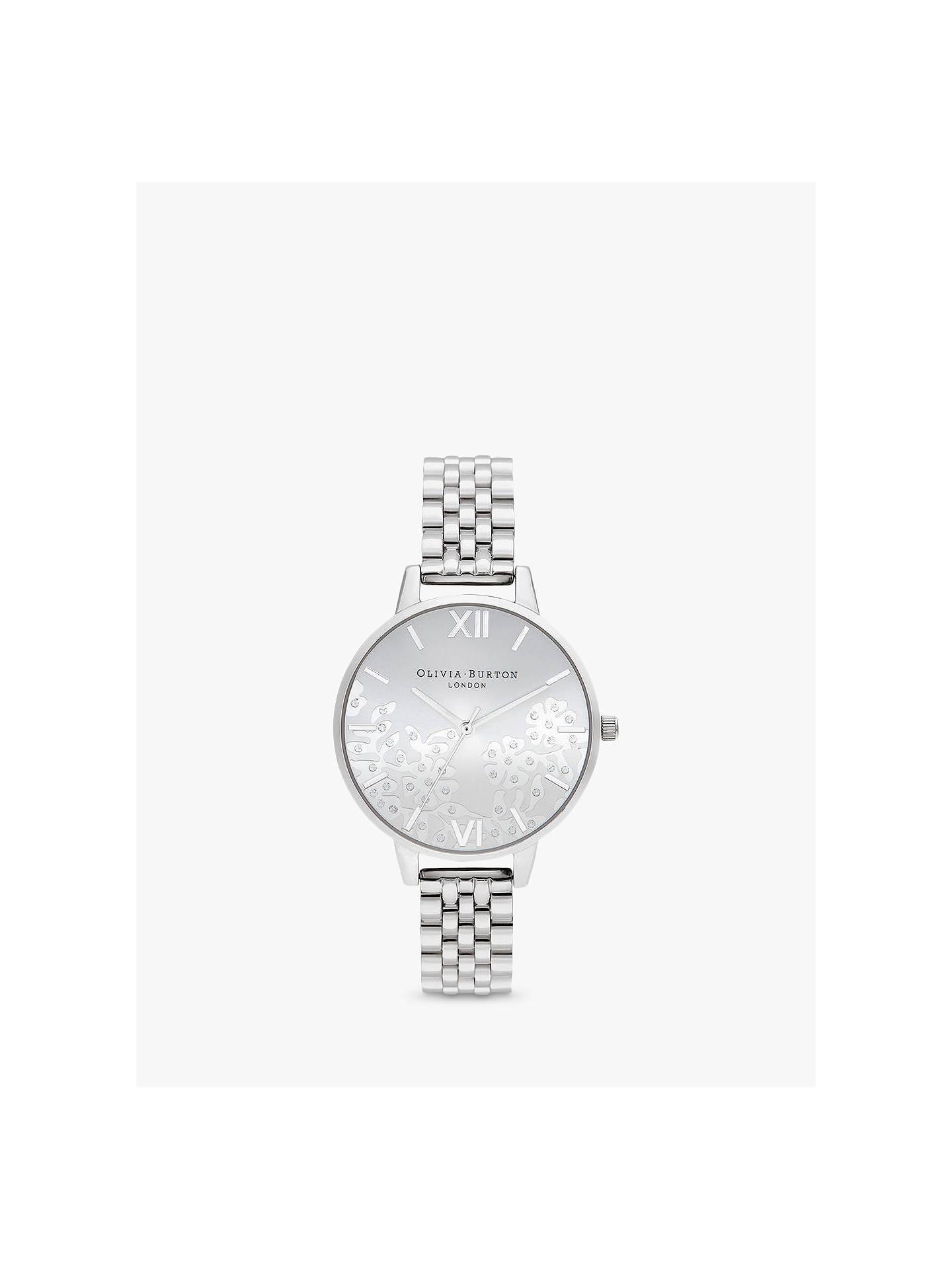 47665ef97 Buy Olivia Burton OB16MV101 Women's Bejewelled Lace Swarovski Crystal  Bracelet Strap Watch, Silver Online at ...