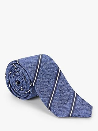 John Lewis & Partners Textured Stripe Tie, Navy