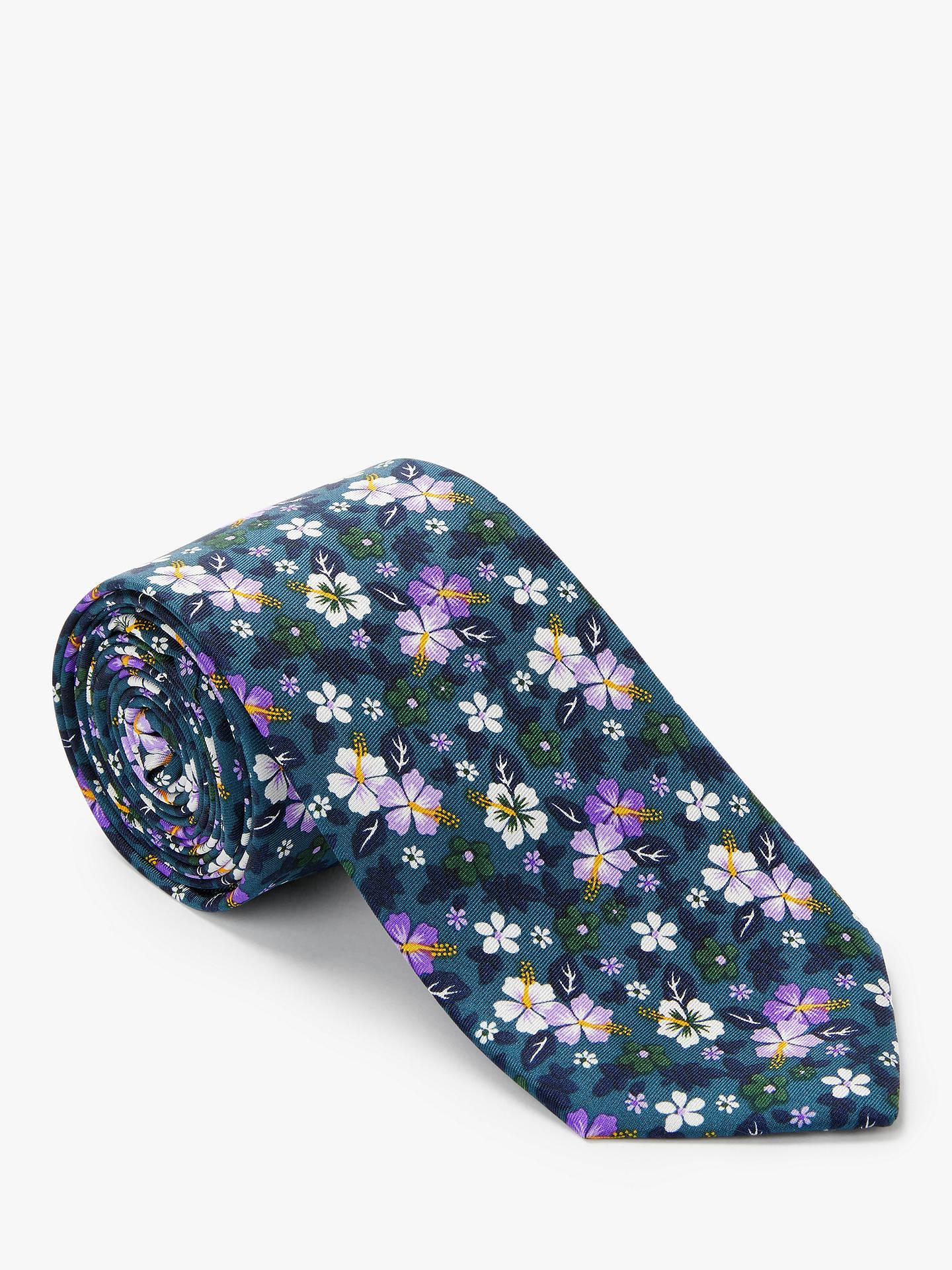 b67a3904415a Buy John Lewis & Partners Printed Floral Silk Tie, Teal Online at  johnlewis. ...