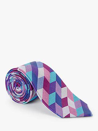 John Lewis & Partners Large Chevron Silk Tie, Multi