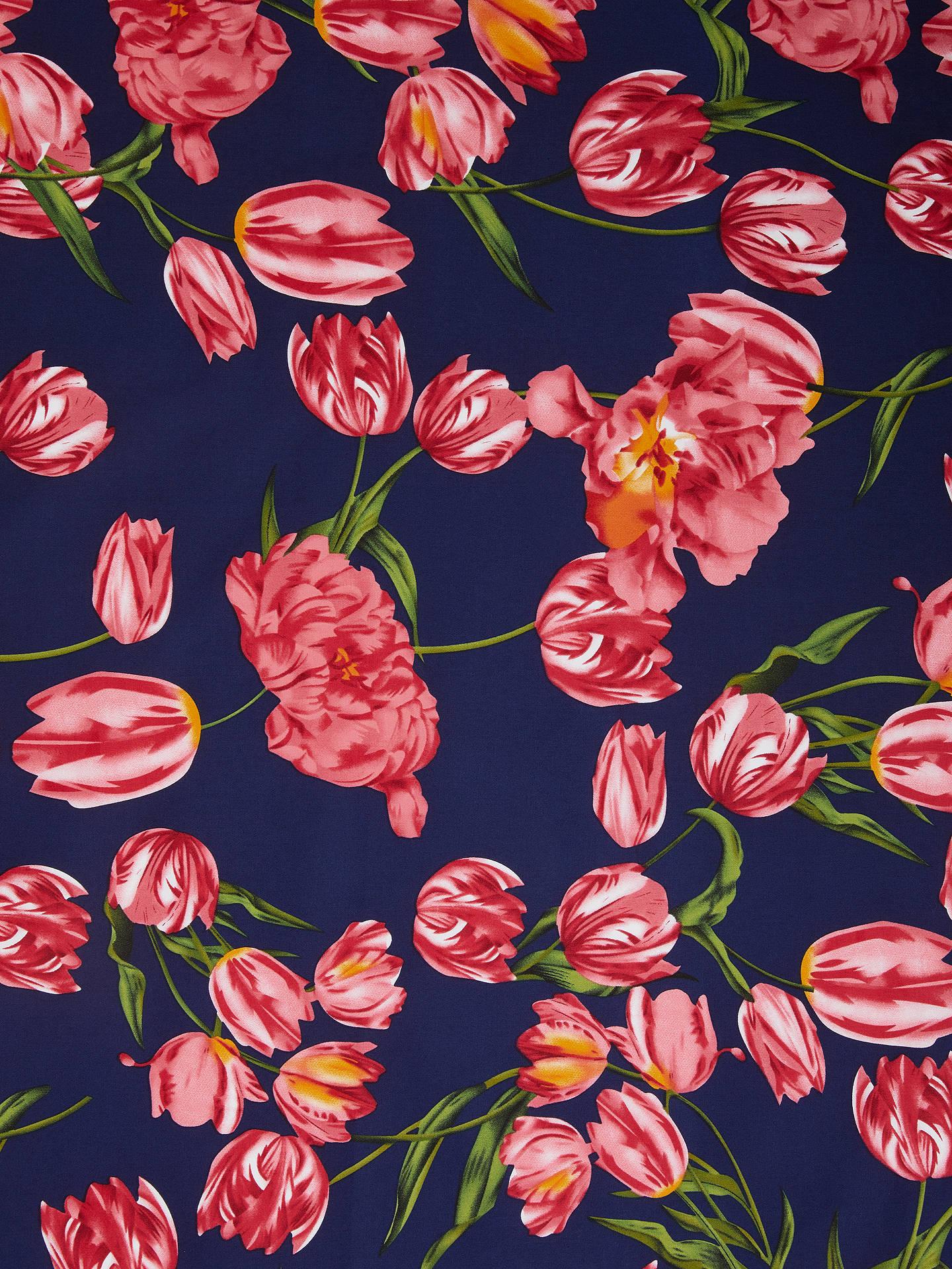bdc23b2ae74b6 Buy Viscount Textiles Pink Tulips Print Fabric, Navy Online at  johnlewis.com ...