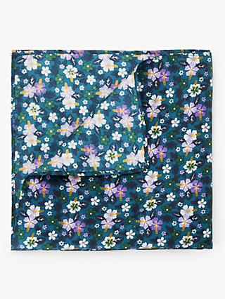 John Lewis & Partners Printed Floral Pocket Square, Teal