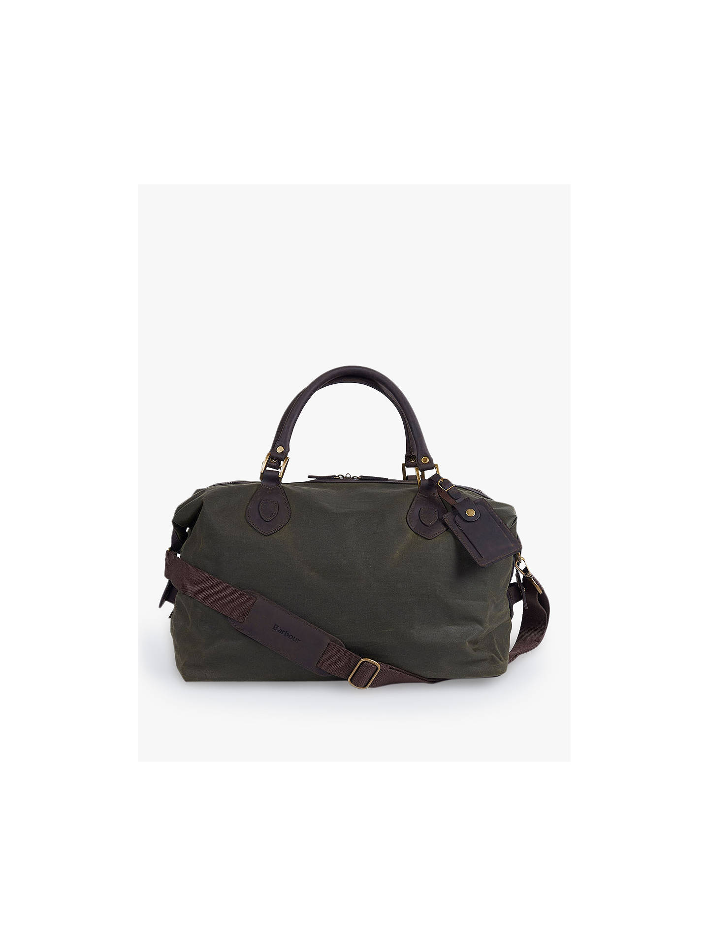 0222bf4b1bd Buy Barbour Wax Cotton Travel Explorer Holdall, Archive Olive Online at  johnlewis.com