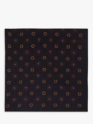 Reiss Nicholas Wool Floral Pocket Square, Navy