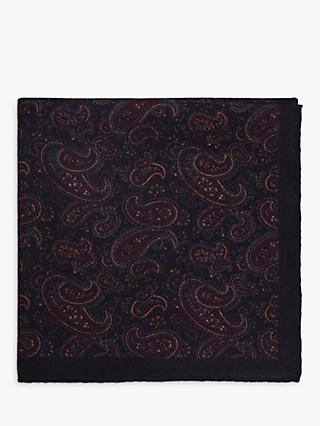 Reiss Lincoln Wool Paisley Pocket Square, Navy