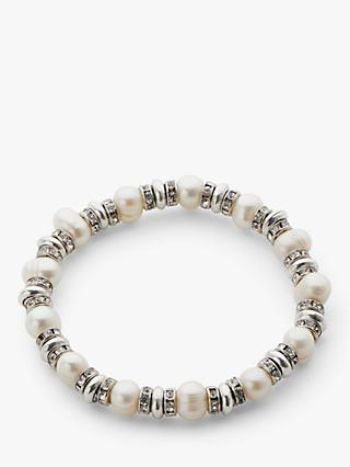 ce2bce5c3 John Lewis & Partners Freshwater Pearl and Crystal Stretch Bracelet, Silver /White