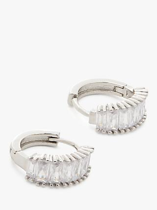 John Lewis & Partners Baguette Cut Crystal Mini Hoop Earrings, Silver