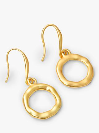 John Lewis & Partners Matte Beaten Circle Hook Drop Earrings, Gold