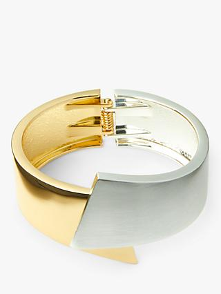 John Lewis & Partners Brushed and Polished Hinged Cuff, Silver/Gold