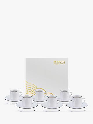 Tokyo Design Studio Nippon White Espresso Cup & Saucer, Set of 6, 80ml, White/Gold