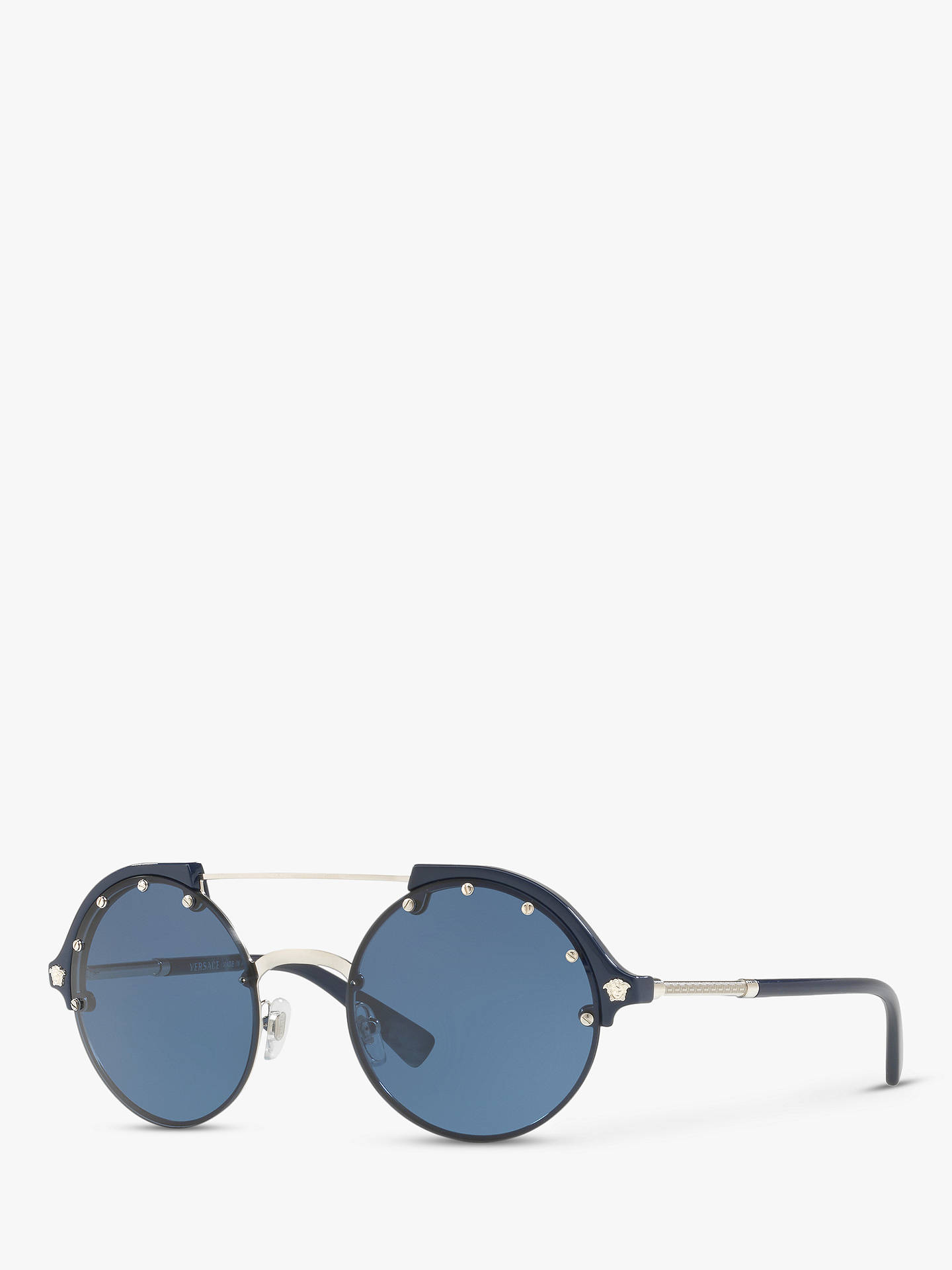 c6082020a8af Buy Versace VE4337 Women's Studded Round Sunglasses, Silver/Blue Online at  johnlewis. ...