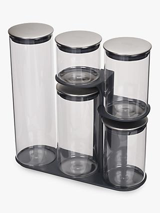 Joseph Joseph Podium 100 Glass Storage Container Set and Stand, 5 Pieces