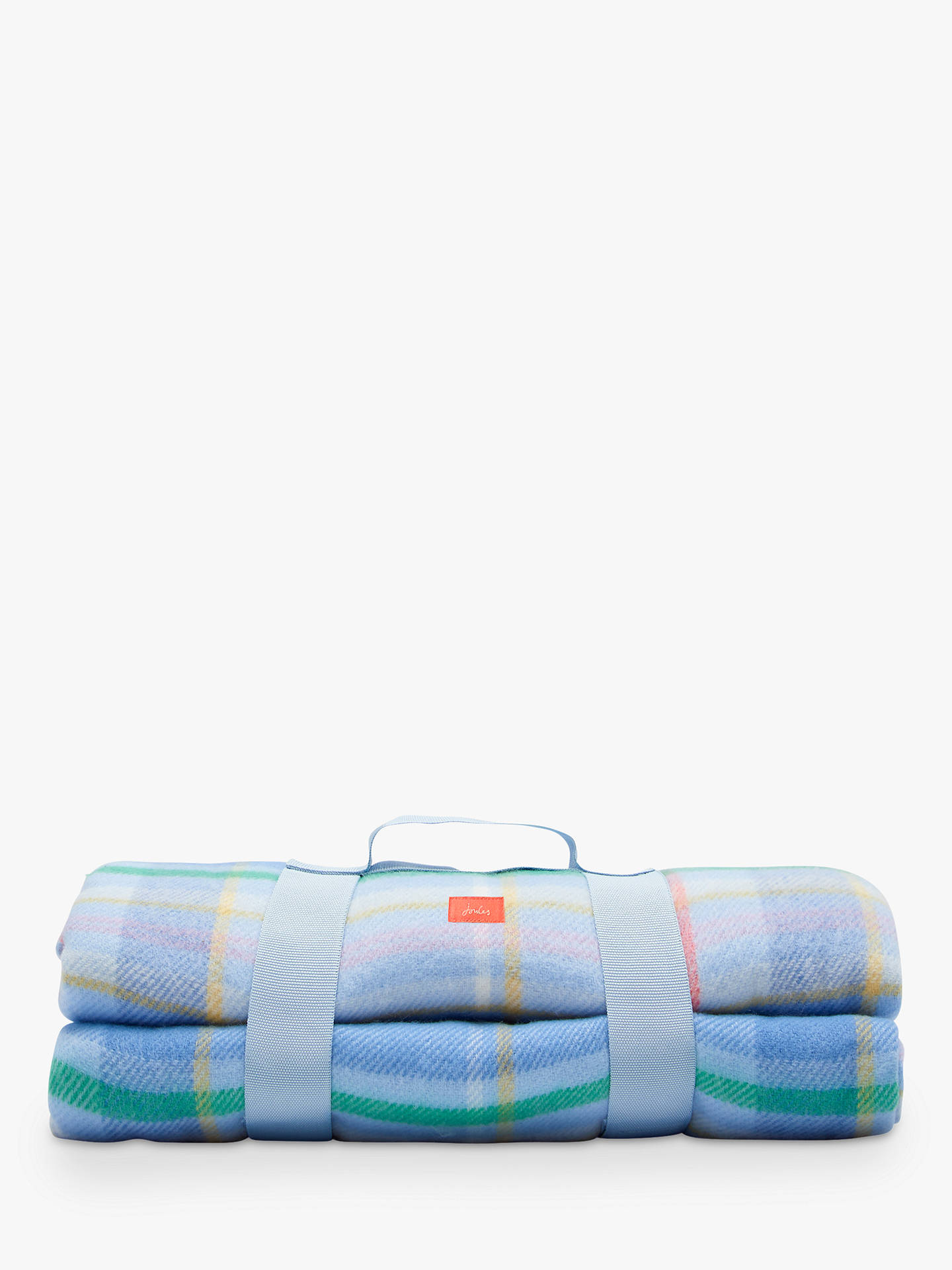 Joules Woven Check Picnic Blanket, Blue