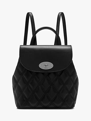 Mulberry Mini Bayswater Quilted Smooth Calf S Leather Backpack Black Silver