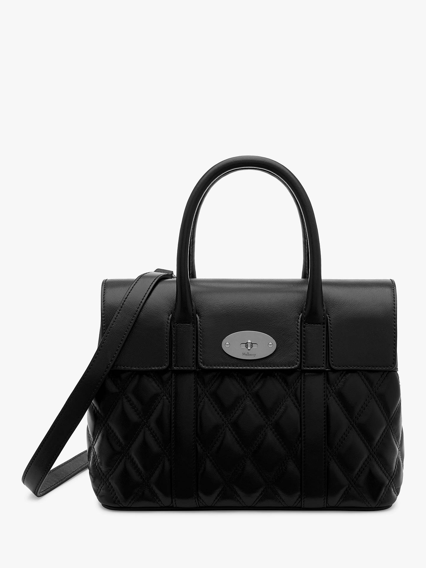 BuyMulberry Small Bayswater Quilted Smooth Calf Leather Tote Bag, Black  Online at johnlewis.com ... 45226231db