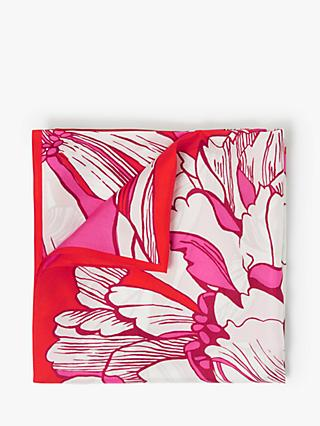 John Lewis & Partners Luna Floral Print Square Silk Scarf, Red/Multi
