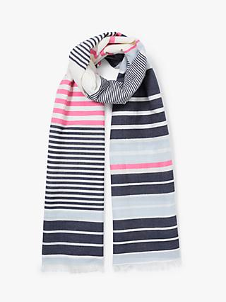 0f65415c John Lewis & Partners Seaside Stripe Cotton Scarf, Navy Mix