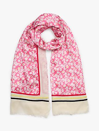 Collection WEEKEND by John Lewis Floral Cotton Blend Scarf, Pink Mix