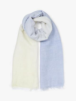 John Lewis & Partners Wool and Linen Mix Dip Dye Ombre Scarf
