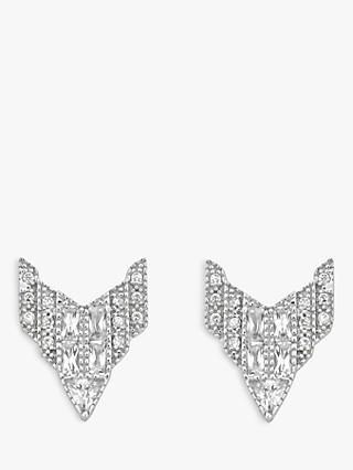 V by Laura Vann Chrysler Sterling Silver Cubic Zirconia Stud Earrings, Silver