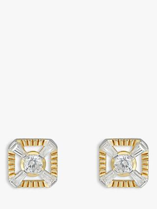 V by Laura Vann Eleanor Cubic Zirconia Square Stud Earrings, Gold/Silver