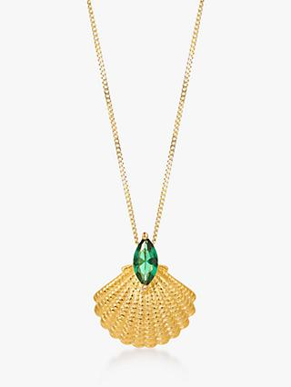 V by Laura Vann Pamela Shell Pendant Necklace, Gold/Green