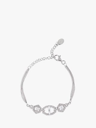 V by Laura Vann Selina Sterling Silver Cubic Zirconia Double Chain Bracelet, Silver