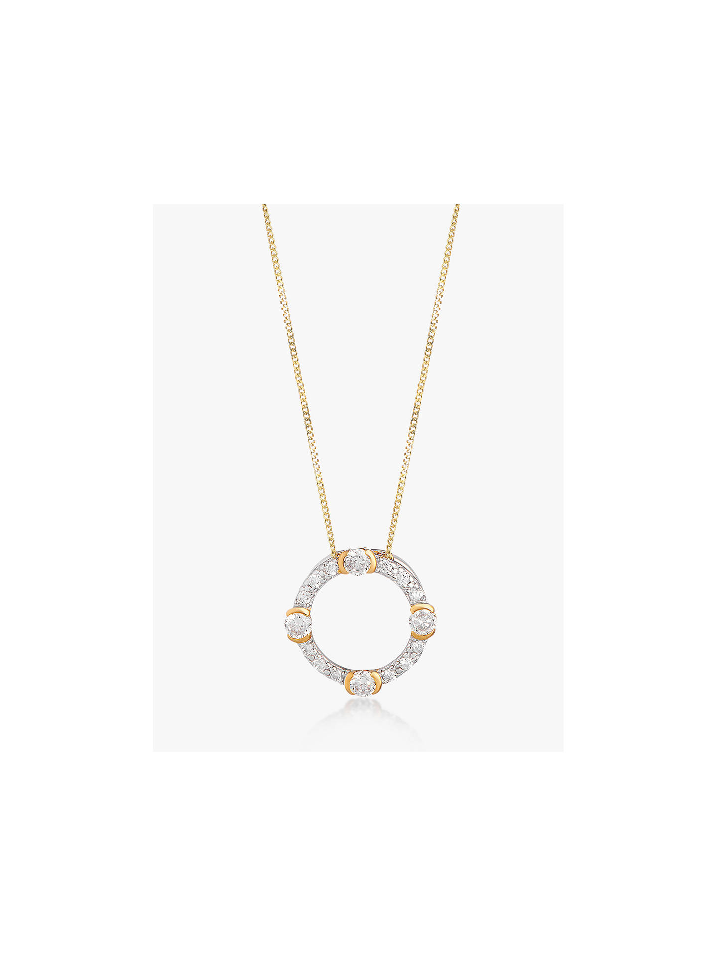 Buy V by Laura Vann Luna Cubic Zirconia Circle Pendant Necklace, Gold/Silver Online at johnlewis.com