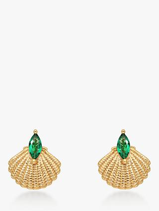 V by Laura Vann Pamela Shell Drop Earrings, Gold/Green