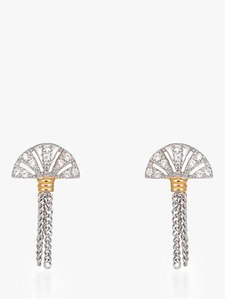 V by Laura Vann Luella Fan and Tassel Drop Earrings, Silver/Gold