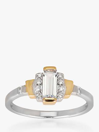 V by Laura Vann Sabrina Baguette Cubic Zirconia Ring, Silver/Gold