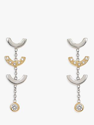 V by Laura Vann Attina Cubic Zirconia Chain Drop Earrings, Silver/Gold