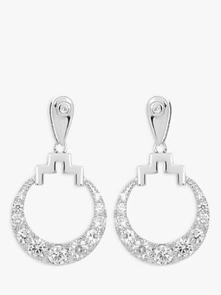 V by Laura Vann Bianca Cubic Zirconia Sterling Silver Circle Drop Earrings, Silver