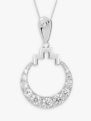 V by Laura Vann Bianca Sterling Silver Cubic Zirconia Circle Pendant Necklace, Silver