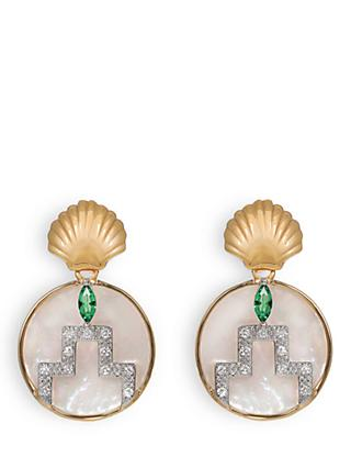V by Laura Vann Gina Circle Drop Earrings, Gold/Multi