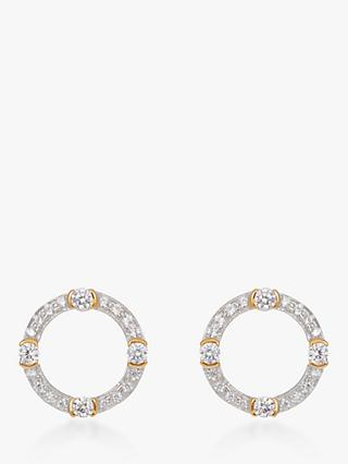 V by Laura Vann Luna Cubic Zirconia Circle Stud Earrings, Gold/Silver