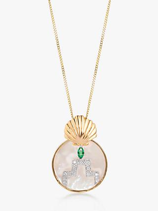 V by Laura Vann Gina Circle Pendant Necklace, Gold/Multi